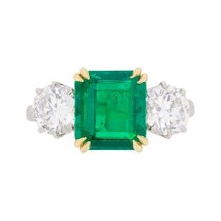 Art Deco Emerald and Diamond Three Stone Ring, c.1930s