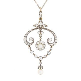 Victorian Diamond and Pearl Drop Pendant, c.1880s