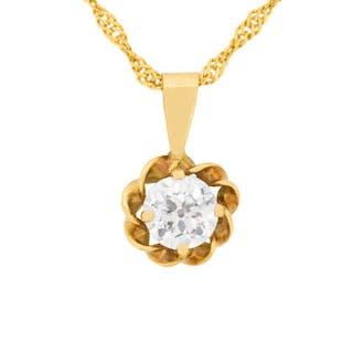 Victorian 0.50 Carat Diamond Pendant and Chain, c.1900s