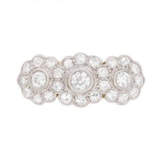Art Deco Daisy Diamond Cluster Ring, c.1920s
