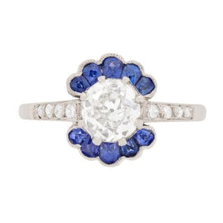 Early Deco Diamond and Sapphire Cluster Ring, c.1920s
