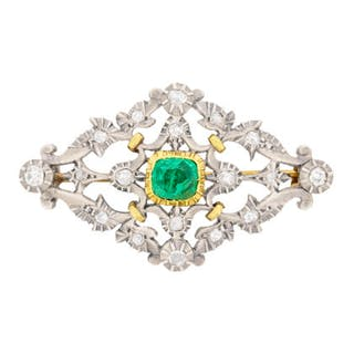 Early Victorian Emerald and Diamond Brooch, c.1860s