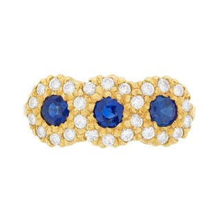Vintage Sapphire and Diamond Cluster Ring, c.1970s