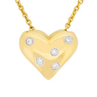 Tiffany & Co Etoile Heart Diamond Pendant with Chain