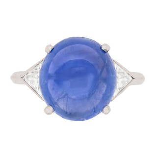 Art Deco 8.35 Carat Sapphire and Diamond Ring, c.1920s