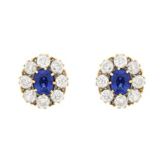 Edwardian Sapphire and Diamond Cluster Earrings, c.1910