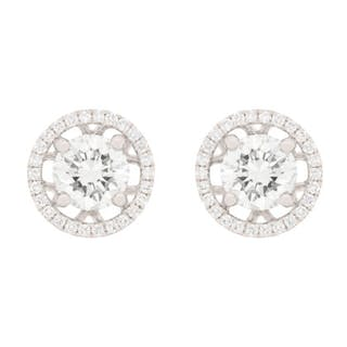 Modern Diamond Earring Studs with Detachable Halos