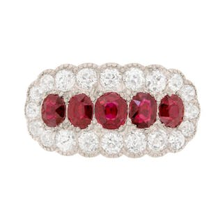 Late Victorian Ruby and Diamond Cluster Dress Ring, c.1910