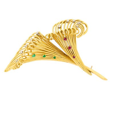 Late Deco Diamond, Emerald and Ruby Lily Brooch, c.1940s