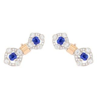 Art Deco Sapphire and Diamond Two-Tone Cufflinks, c.1920s
