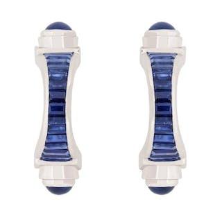 Baguette Cut and Cabochon Cut Sapphire Cufflinks