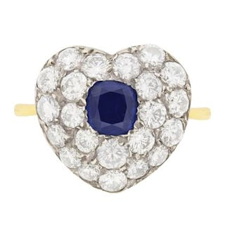 Art Deco Sapphire and Diamond Heart Shaped Ring, c.1940s