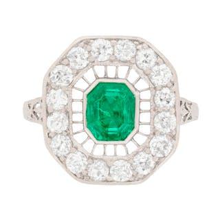 Art Deco Emerald and Diamond Cluster Ring, c.1920s