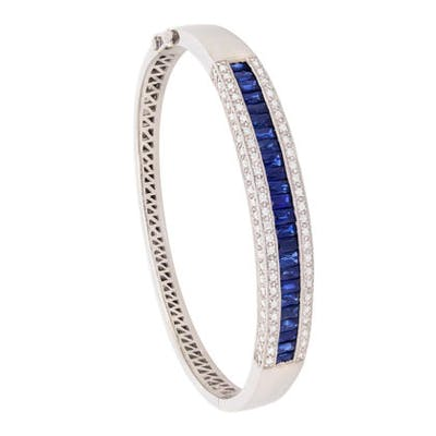 French Cut Sapphire and Round Brilliant Diamond Bracelet
