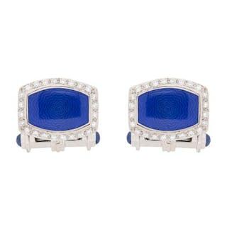 Diamond, Blue Enamel and Sapphire Cufflinks
