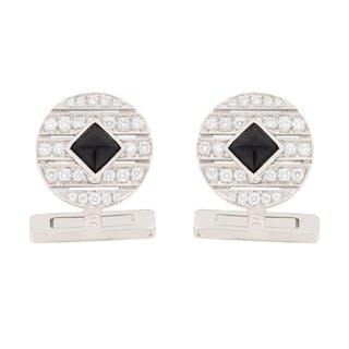 Cartier Diamond and Onyx Cufflinks