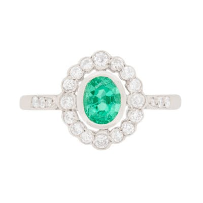 Late Deco Emerald and Diamond Cluster Ring, c.1940s