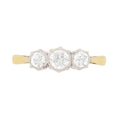 Edwardian Diamond Three Stone Engagement Ring, c.1910
