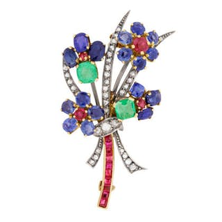 Victorian Sapphire, Diamond, Ruby and Emerald Flower Brooch, c.1880s