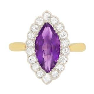 Art Deco Amethyst and Diamond Ring, c.1920s