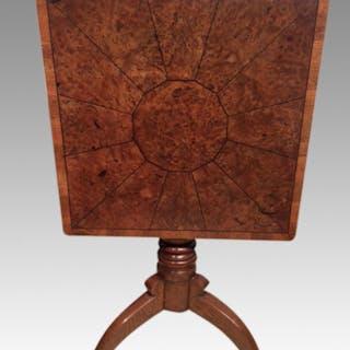 Georgian burr oak tripod table.