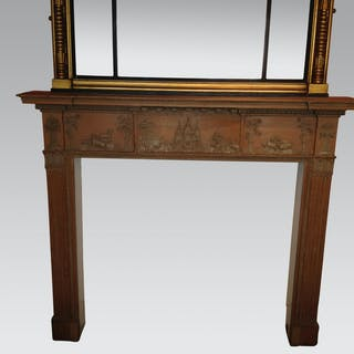 Scottish carved pine and gesso mantelpiece.