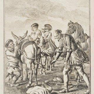 Daniel Nikolaus Chodowiecki - Don Quixote hilft der vom Esel gestürzten