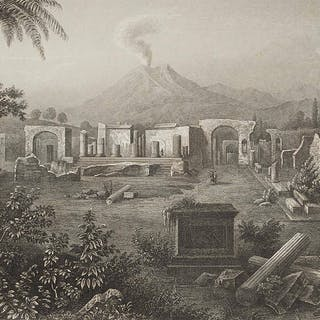 Unbekannter Künstler - Das Forum von Pompeji am Vesuv