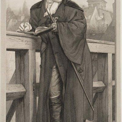 Unbekannter Künstler - Chodowiecki auf der Jannowitzbrücke, nach Adolph