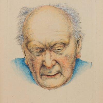 Arne Bendik Sjur - Mann i blå genser, håndkolorert