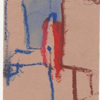 Ohne Titel (Akt im roten Mantel mit Lampe im Raum) - Karl Bohrmann