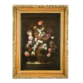 17th century Italian Lombard Still life of Flowers Painting