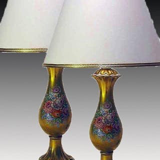 Pair of porcelain lamps gilded and decorated