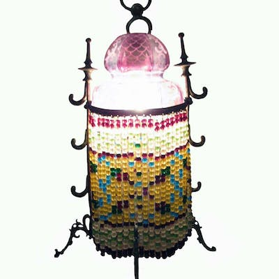 Glass Bedside Lamps Beaded 1920s
