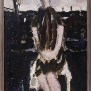 Large Seated Girl Portrait Signed and dated Renato Borsato 1960