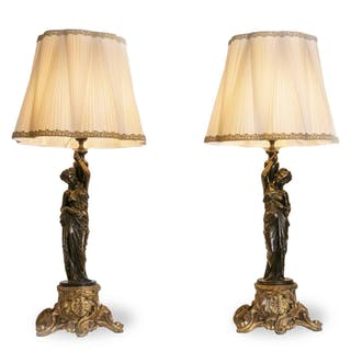 Pair of Late 19th Century French Spelter Figural Table Lamps Neoclassical Style