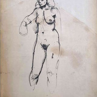 Female Nude Ink Drawing by The Italian Painter Renato Guttuso Roma 1952