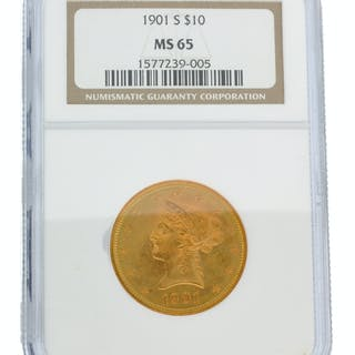 *1901-S $10 U.S. Liberty Head NGC MS65 Gold Coin (DF)