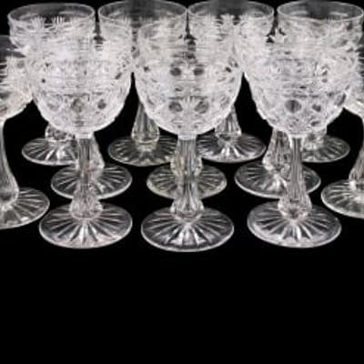 Eight Edwardian Dessert Wine Glasses
