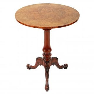 Burr Walnut Top Tripod Table