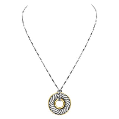David Yurman Carved Cable Circle Pendant Necklace 18k & sterling silver