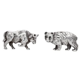 Tiffany & Co. Bull & Bear cuffllinks in sterling silver