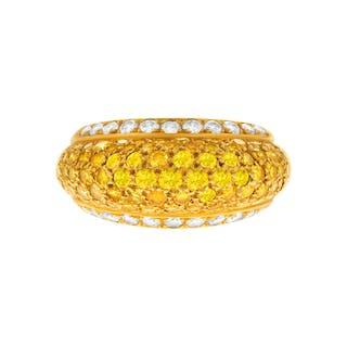 Van Cleef & Arpels domed fancy diamond ring in 18k. 3 carats
