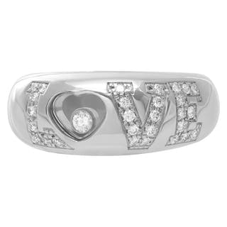 """Chopard 18k white gold """"LOVE"""" ring with pave diamonds on """"LOVE"""". Size 5"""