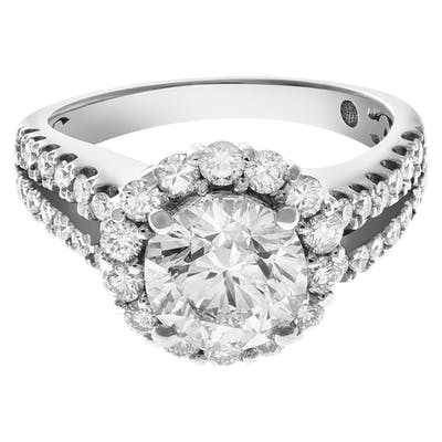 GIA certified round brilliant cut diamond ring 2.01 carats (H color