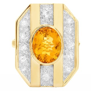 Broach with citrine & diamond accents in 14k yellow gold. 1.00 carats