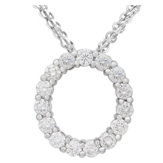 Diamond eternity circle necklace in 14k white gold