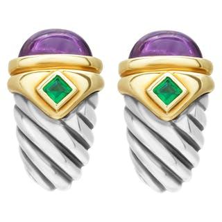 David Yurman Renaissance amethyst & emerald shrimp earrings 14k & S. Silver