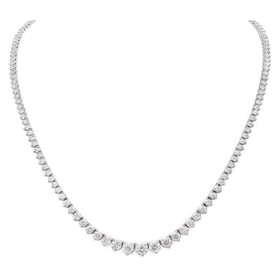 Diamond riviera necklace with 10 carats in round cut diamonds in 14k white gold