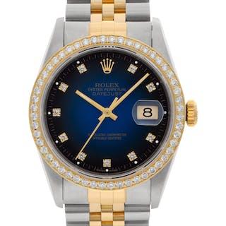Rolex Datejust 16233 18k & Steel, Factory vintage blue diamond dial, 36mm Auto